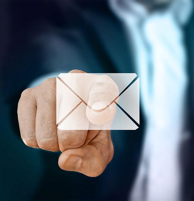icône email messagerie d'entreprise écran tactile